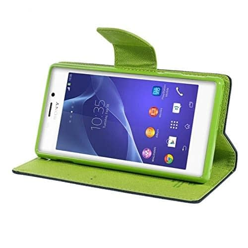 iAccessorize Mercury Goospery Flip Wallet Case Cover For Sony Xperia M2 (Green) 4