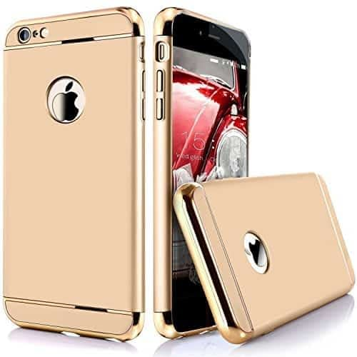 iPaky Chrome 3 Piece Hybrid Protective Back Case Cover for Apple iPhone 6 6S - Gold 1