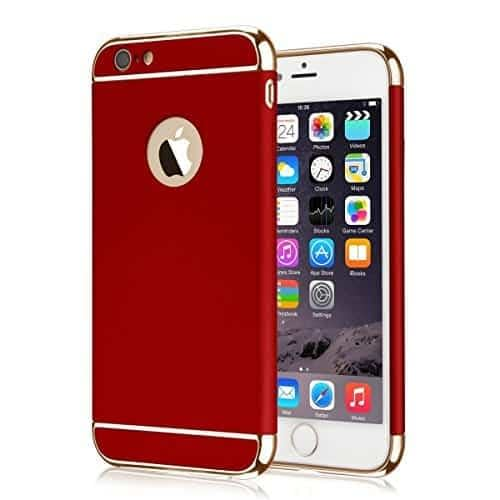 iPaky Chrome 3 Piece Hybrid Protective Back Case Cover for Apple iPhone 6 6S - Red 1