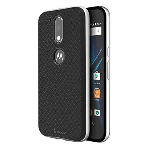 iPaky Hybrid Ultra Thin Shockproof Back + Bumper Case Cover for MOTO G4 PLUS (Moto G Plus, 4th Gen) - Silver 1