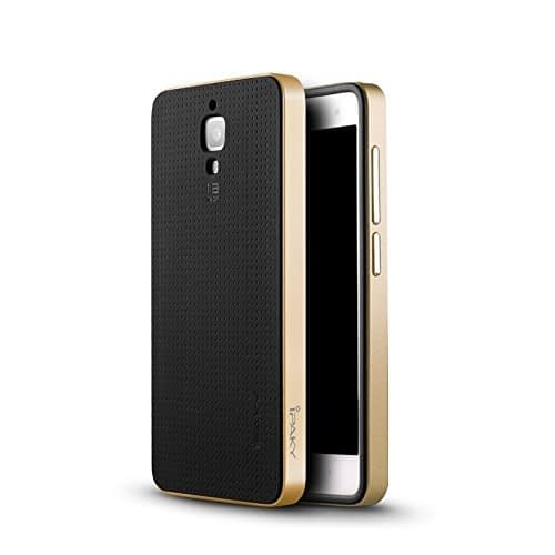 iPaky Ultra-Thin Dotted Silicon Black Back + PC Gold Frame Bumper Back Case Cover For Xiaomi mi 4 - Black Golden 1
