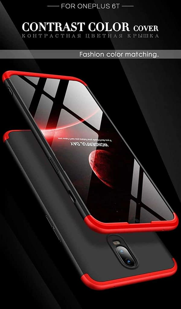 Royal Star 3 in 1 Luxury Design Full Body Protection Hybrid Matte Finish Hard Bumper Back Cover Case (OnePlus 6T, Black & Red (3 in 1)) 4