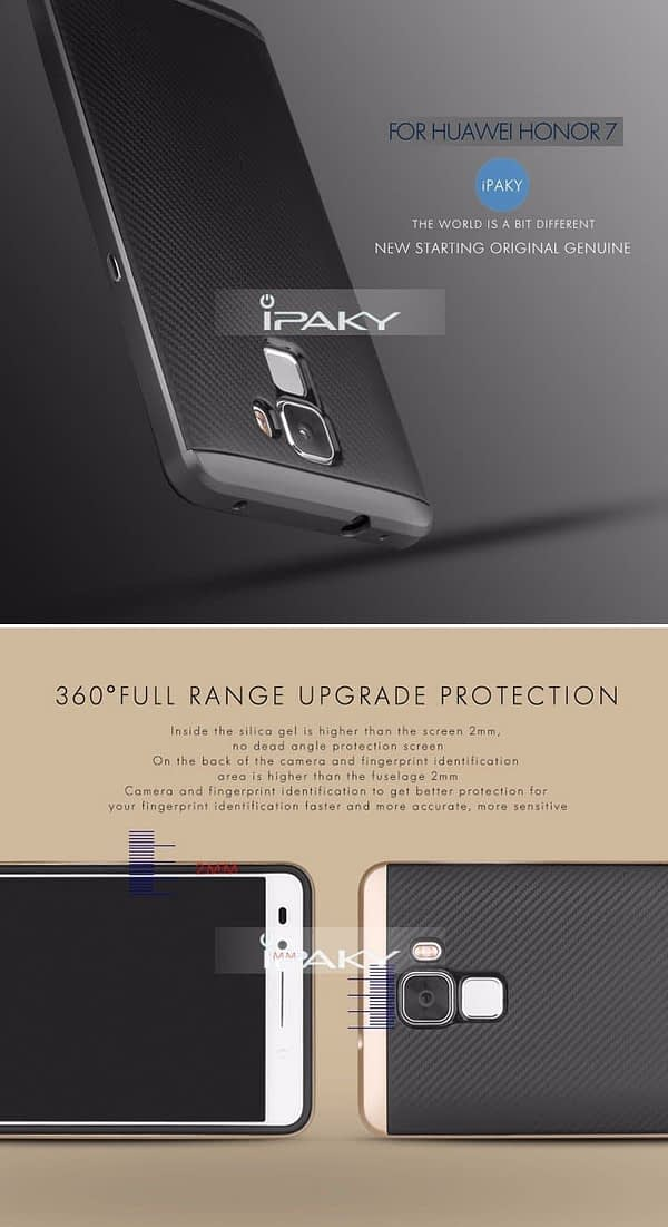 iPaky Premium Silicon Back & PC Frame Case for Huawei Honor 7 - Gold 1