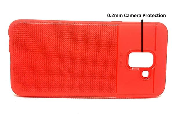 Royal Star Half Checkers Design Super Slim Flexible Soft TPU Back Cover Case for (Samsung Galaxy J6 (2018 Model), Red) 3