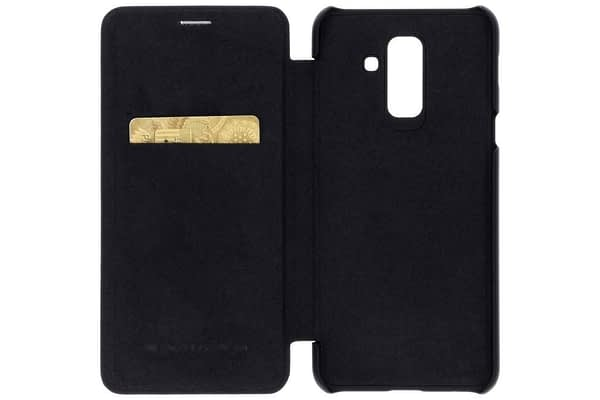 Nillkin Qin Series Leather Flip Case Cover for Samsung Galaxy A6 Plus (2018 Model) - Black Color 4