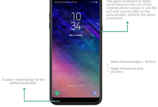 Royal Star 2.5D Curved Edge 0.33mm 9H Tempered Glass Screen Protector Guard for (Samsung Galaxy A6 Plus, Pack of 4Pcs) 3