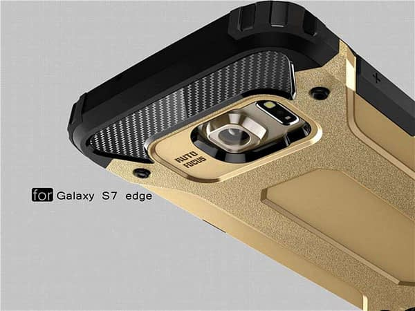 Royal Star Dual Layer Armor Neo-Hybrid Shock-Proof Back Case Cover for (Samsung Galaxy S7 Edge, Gold) 5