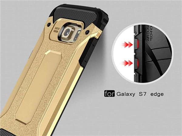 Royal Star Dual Layer Armor Neo-Hybrid Shock-Proof Back Case Cover for (Samsung Galaxy S7 Edge, Gold) 8