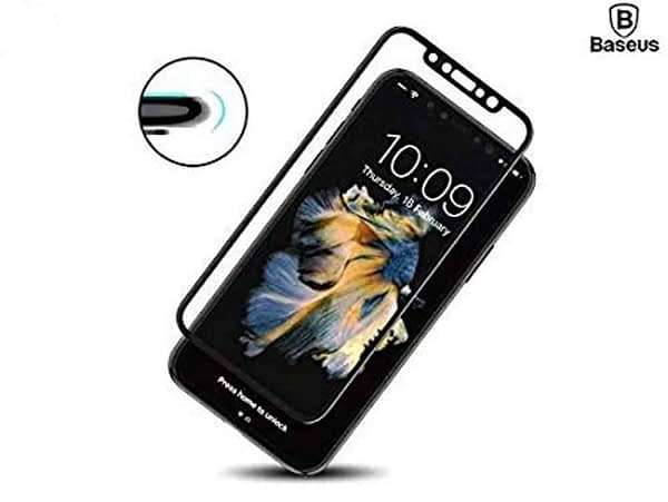 Baseus 3D Arc Curved 0.3mm Silk-Screen 9H Full Coverage Edge to Edge Screen Tempered Glass Protector Guard for (Apple iPhone X/Apple iPhone Xs (Baseus 3D), Black) 3