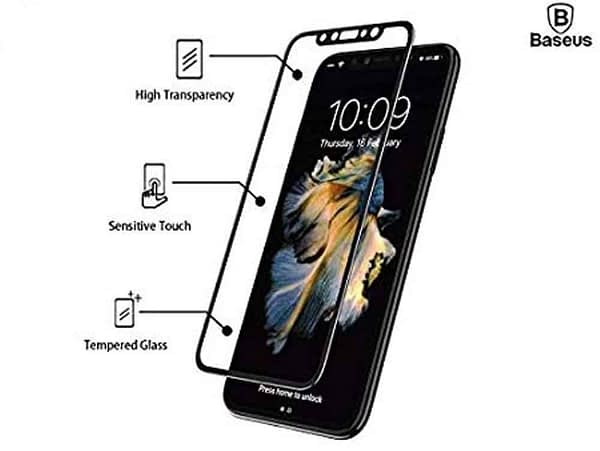 Baseus 3D Arc Curved 0.3mm Silk-Screen 9H Full Coverage Edge to Edge Screen Tempered Glass Protector Guard for (Apple iPhone X/Apple iPhone Xs (Baseus 3D), Black) 4