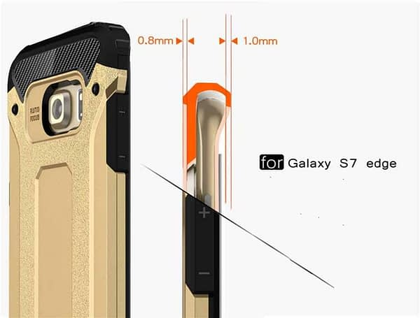 Royal Star Dual Layer Armor Neo-Hybrid Shock-Proof Back Case Cover for (Samsung Galaxy S7 Edge, Gold) 6