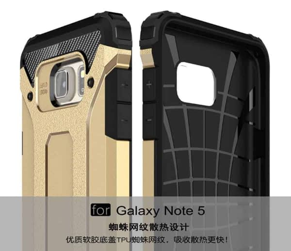 Royal Star Dual Layer Armor Neo-Hybrid Shock-Proof Back Case Cover for (Samsung Galaxy Note 5, Gold) 7