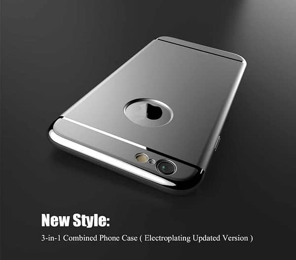 iPaky Chrome 3 Piece Hybrid Protective Back Case Cover for Apple iPhone 6 6S - Silver 3