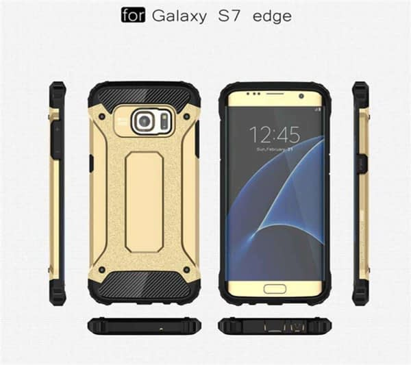 Royal Star Dual Layer Armor Neo-Hybrid Shock-Proof Back Case Cover for (Samsung Galaxy S7 Edge, Gold) 4