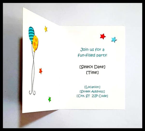 Birthday Invitation Cards for Kids With Customized Details i.e. Name, Date, Time, Venue, Size: two folded 4.20 x 5.4 inch, without envelope (Quantity 20 Cards) 7