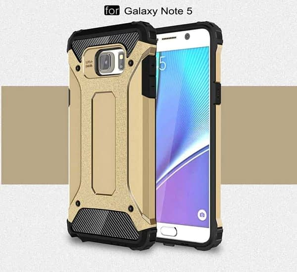 Royal Star Dual Layer Armor Neo-Hybrid Shock-Proof Back Case Cover for (Samsung Galaxy Note 5, Gold) 9