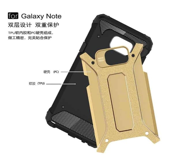 Royal Star Dual Layer Armor Neo-Hybrid Shock-Proof Back Case Cover for (Samsung Galaxy Note Fan Edition (FE), Gold) 4