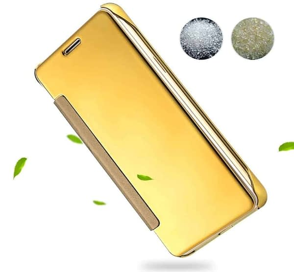 Royal Star Luxury Clear View Mirror Flip Smart Cover Case for (Huawei P9, Golden) 5
