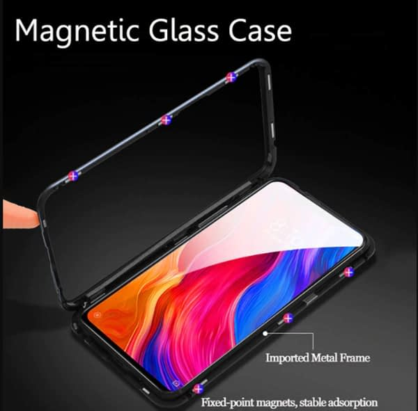 Royal Star Luxury Slim Magnetic Flip with Metal Frame & Back Side Transparent Tempered Glass Back, Built-in Powerful Magnet Flip Back Cover Case for 5