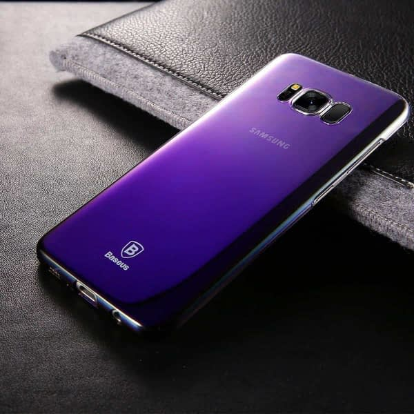 Baseus Glaze Colorful Case Ultra Thin Anti-Scratch Shockproof Double Colors Hard Plastic PC Protective Back Cover Case for Samsung Galaxy (Samsung Galaxy S8, Black/Purple) 3