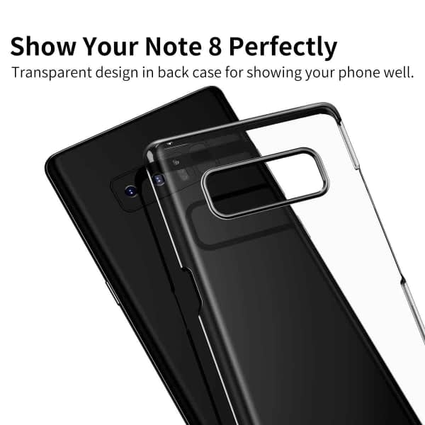 "Baseus Glitter Series For ""Samsung Galaxy Note 8"" Clear Case, Premium Shock Absorption TPU Bumper Cushion + Scratch Resistant Clear Protective Hybrid Cases Hard Cover For ""Samsung Galaxy Note 8"" - Black 5"