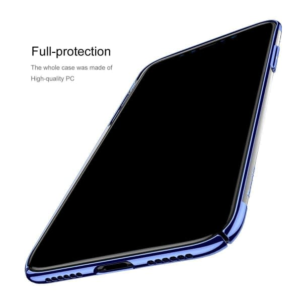 "Baseus Glitter Serise Case For ""iPhone X"", Shinning Plating Design PC Bumper [Drop Protection] Clear Back Transparent Shock Absorption Protective Cover Bumper For iPhone X - Blue 6"