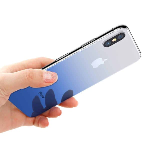 Baseus High-definition 0.3mm Slim Coloring Tempered Glass Back Retral Film Back Protective Film For iPhone X (Blue) 5