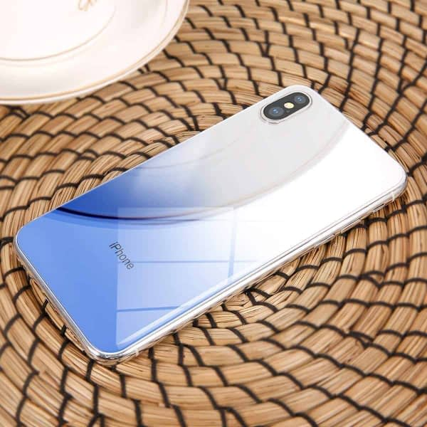 Baseus High-definition 0.3mm Slim Coloring Tempered Glass Back Retral Film Back Protective Film For iPhone X (Blue) 6