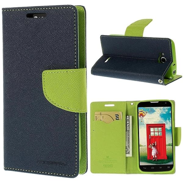 CHL Mercury Fancy Wallet Dairy Flip Case Cover for Micromax Unite 3 Q372 - Blue Green 1