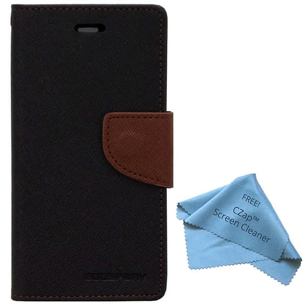 CZap Mercury Diary Goospery Card Wallet Flip Cover Back Case for Sony Xperia E3 Dual D2203 D2206 D2212 - Brown Black 1