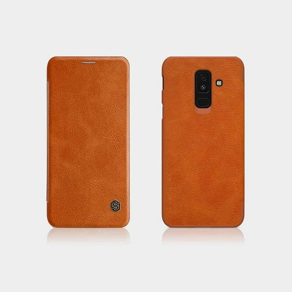 Nillkin Qin Series Leather Flip Case Cover for Samsung Galaxy A6 Plus (2018 Model ) - Brown 1