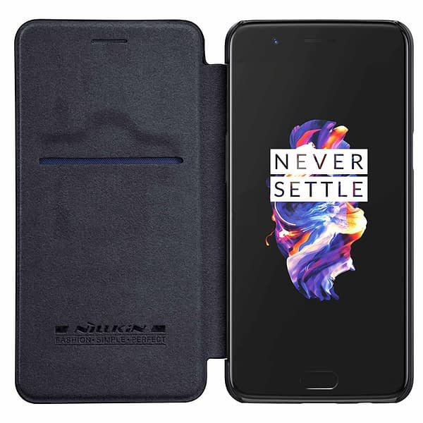 Nillkin Qin Series Royal Leather Flip Case Cover Case For Oneplus 5 - Black 1