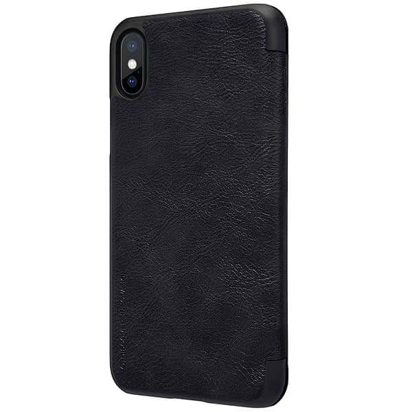 Nillkin Qin Series Royal Leather Flip Case Cover Case For iPhone X (Black) 4