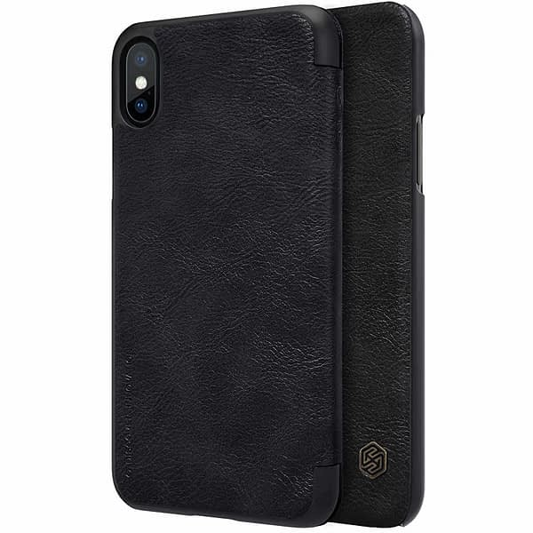 Nillkin Qin Series Royal Leather Flip Case Cover Case For iPhone X (Black) 1