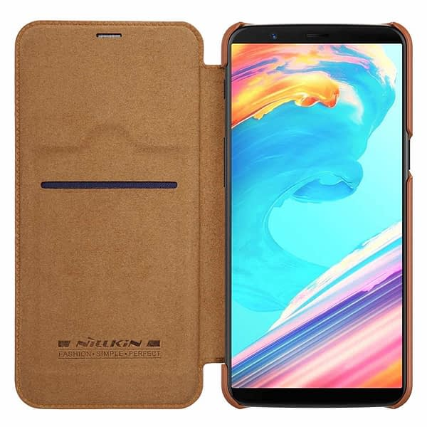 Nillkin Qin Series Royal Leather Flip Case Cover Case for Oneplus 5t (BROWN) 3