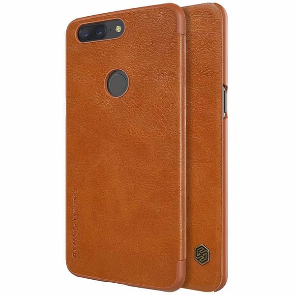 Nillkin Qin Series Royal Leather Flip Case Cover Case for Oneplus 5t (BROWN) 1