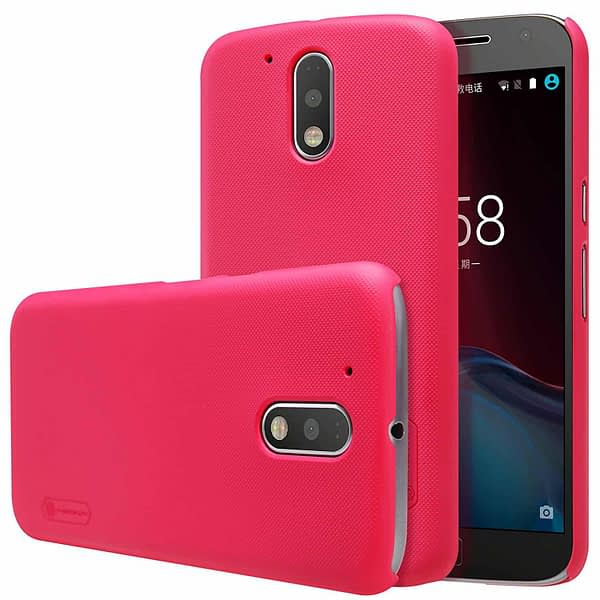 Nillkin Super Frosted Shield Hard Back Cover Case for Motorola Moto G4 Plus , Free Screen guard-RED 1