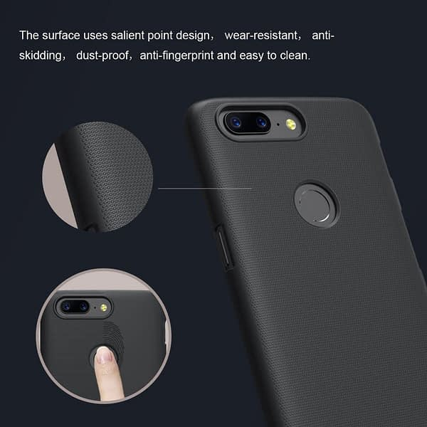 Nillkin Super Frosted Shield Hard Back Cover Case for Oneplus 5T- BLACK 7