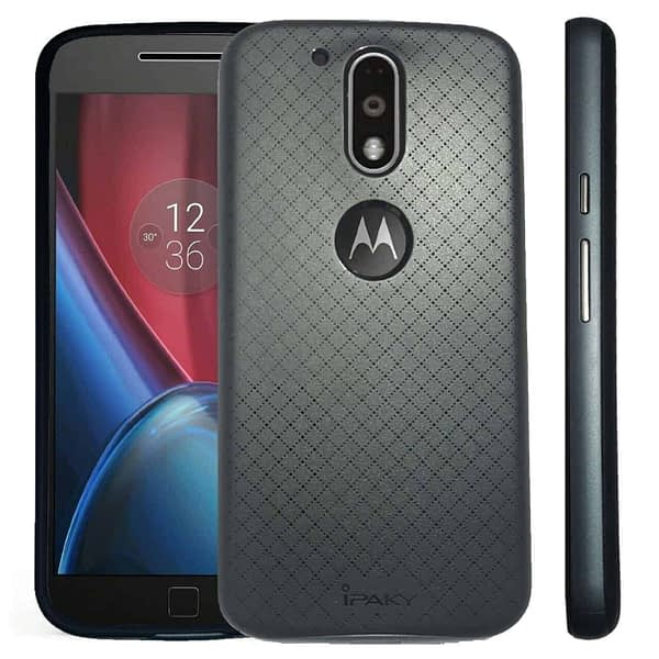 Original iPaky Brand Luxury High Quality Soft Silicon Back Cover + PC Bumper Frame Shockproof Back Cover for Motorola Moto G4 Plus/ Moto G4 (4th Gen) ( Black Back + Grey Bumper) 1
