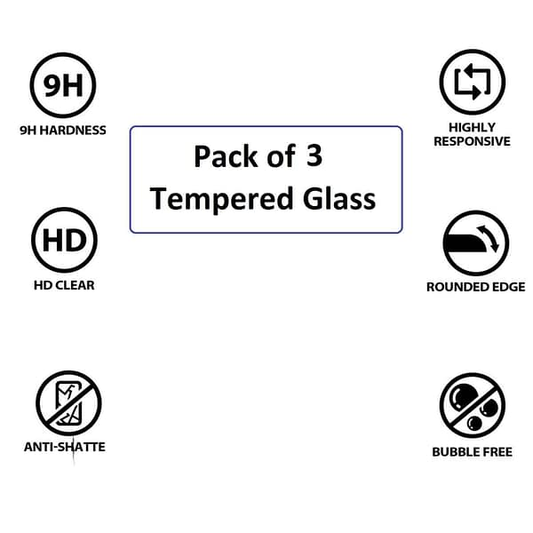 Royal Star 2.5D Curved Edge 0.33mm 9H Tempered Glass Screen Protector Guard for (Samsung Galaxy J6 Plus, Pack of 3Pcs) 3