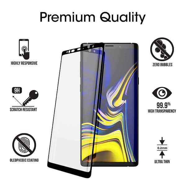 Royal Star 5D Curved 0.2mm Thin 9H (Full Glue) Screen Tempered Glass Protector Guard for (Samsung Galaxy Note 9, Black) 3