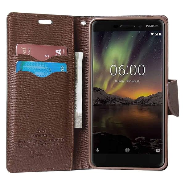 Royal Star Full Protection Fancy Diary Card Wallet Stand View Flip Case Back Cover for Nokia 6 (2018 Model) Nokia 6.1 (Black Brown) 5