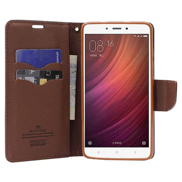 Royal Star Full Protection Fancy Diary Card Wallet Stand View Flip Case Back Cover for (Oppo A5, Black Brown) 3