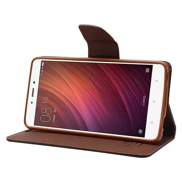 Royal Star Full Protection Fancy Diary Card Wallet Stand View Flip Case Back Cover for (Oppo RealMe 1, Black Brown) 4