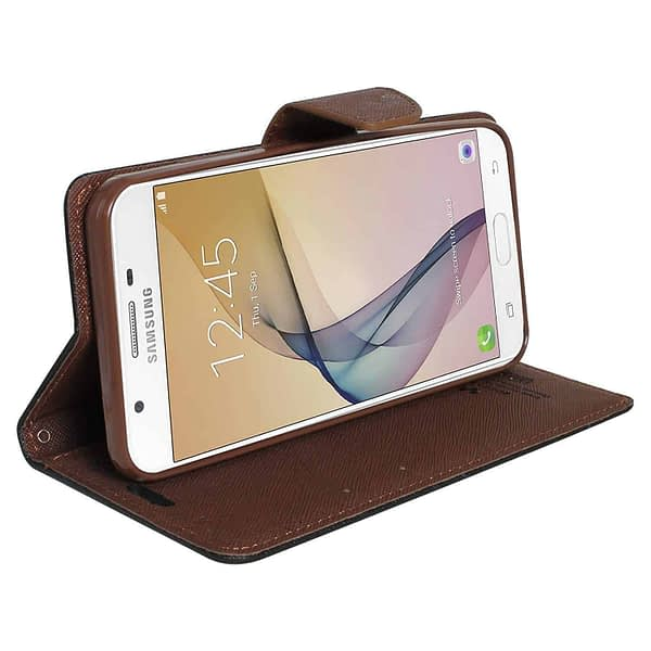 Royal Star Full Protection Fancy Diary Card Wallet Stand View Flip Case Back Cover for (Samsung Galaxy A6 Plus, Black Brown) 4