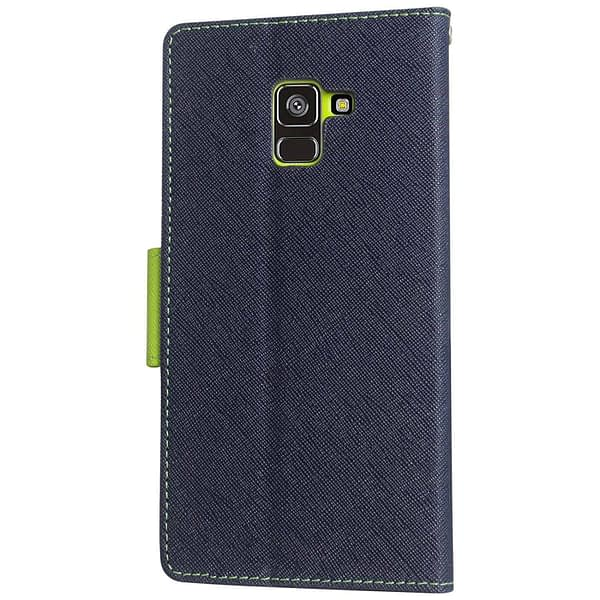 Royal Star Full Protection Fancy Diary Card Wallet Stand View Flip Case Back Cover for Samsung Galaxy A8 Plus (2018 Model) (Blue) 3
