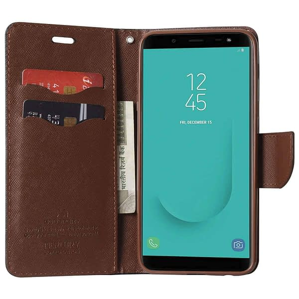 Royal Star Full Protection Fancy Diary Card Wallet Stand View Flip Case Back Cover for Samsung Galaxy A8 Plus (2018 Model) (Black Brown) 4