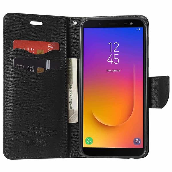 Royal Star Full Protection Fancy Diary Card Wallet Stand View Flip Case Back Cover for (Samsung Galaxy J6 (2018 Launch), Black) 5