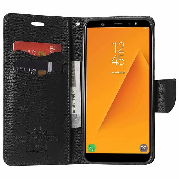 Royal Star Full Protection Fancy Diary Card Wallet Stand View Flip Case Back Cover for Samsung Galaxy J8 (2018 Launch) (Black) 3
