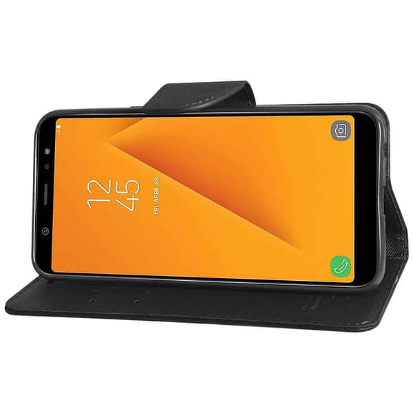 Royal Star Full Protection Fancy Diary Card Wallet Stand View Flip Case Back Cover for Samsung Galaxy J8 (2018 Launch) (Black) 5